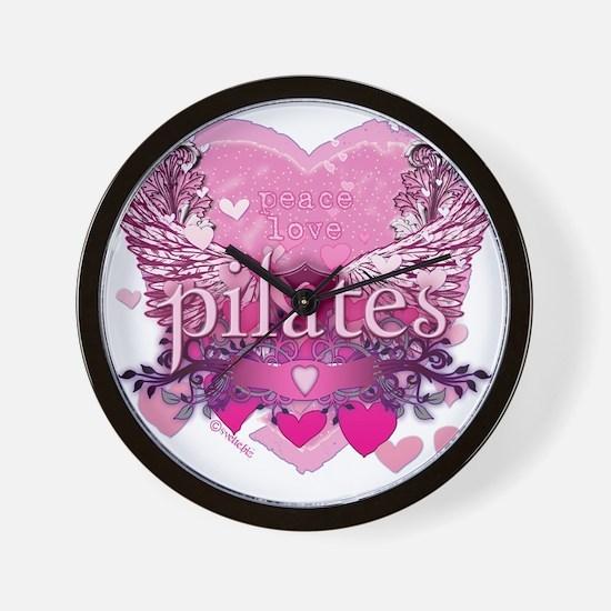 pilates pink heart wings copy Wall Clock