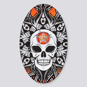 Goth Skull - Orange  IPAD Sticker (Oval)