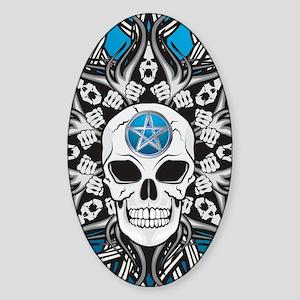 Goth Skull - Blue IPAD Sticker (Oval)