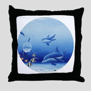 Three Dolphin Friends Throw Pillow