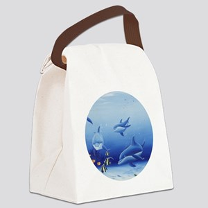 Three Dolphin Friends Canvas Lunch Bag