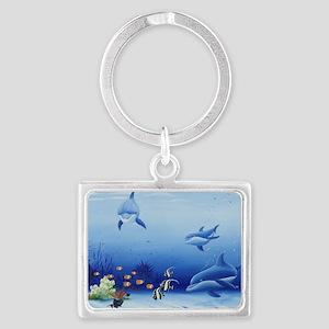 Three Friends Dolphins Landscape Keychain