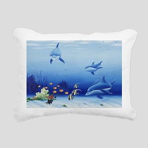 Three Friends Dolphins Rectangular Canvas Pillow