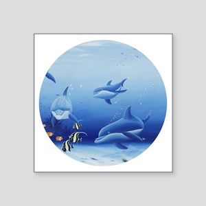 "Three Dolphin Friends Square Sticker 3"" x 3"""