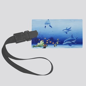 Three Friends Dolphins Large Luggage Tag