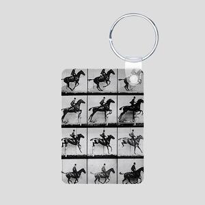 Muybridge_horse_jumping Aluminum Photo Keychain