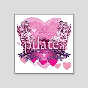 "eat pray pilates pink wings Square Sticker 3"" x 3"""