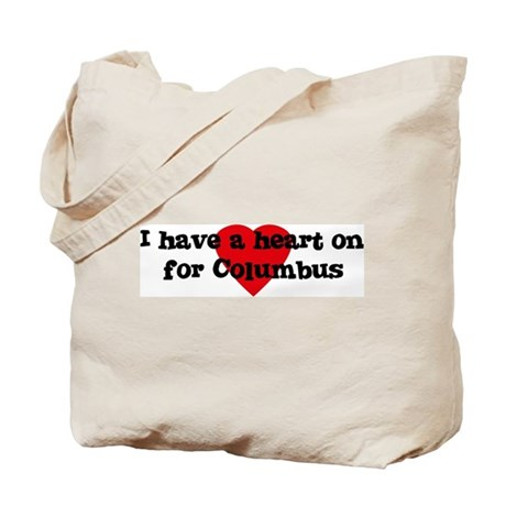 Heart on for Columbus Tote Bag