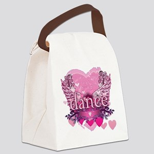 eat pray dance pink heart wings c Canvas Lunch Bag