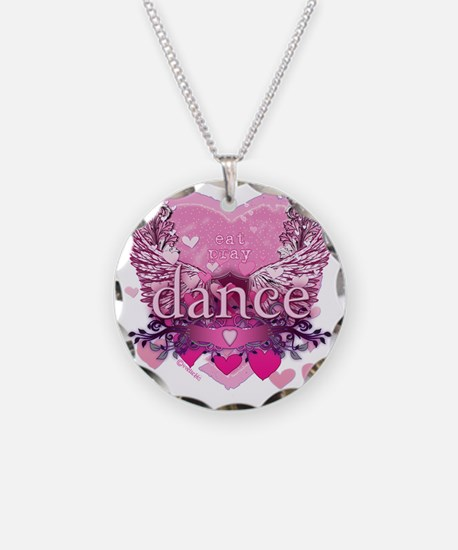 eat pray dance pink heart wi Necklace