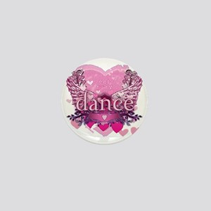 eat pray dance pink heart wings copy Mini Button