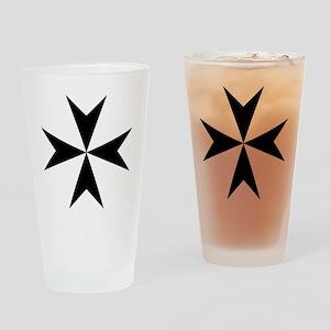Cross of Malta - Black Drinking Glass