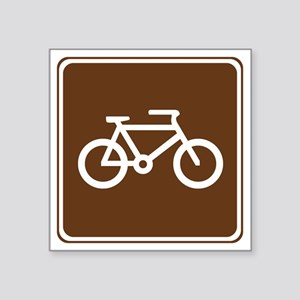 "brown_bicycle_trail_sign_re Square Sticker 3"" x 3"""