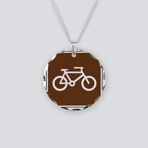brown_bicycle_trail_sign_rea Necklace Circle Charm