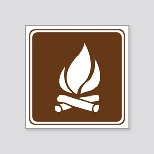 """brown_campfire_sign_real Square Sticker 3"""" x 3"""""""