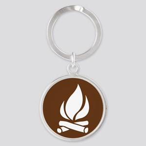 brown_campfire_sign_real Round Keychain