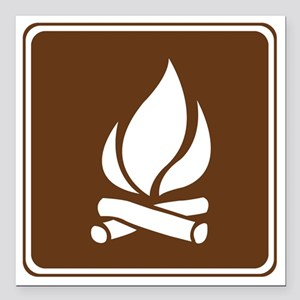 """brown_campfire_sign_real Square Car Magnet 3"""" x 3"""""""