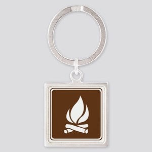 brown_campfire_sign_real Square Keychain