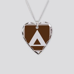 brown_camping_tent_sign_real Necklace Heart Charm
