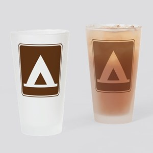 brown_camping_tent_sign_real Drinking Glass