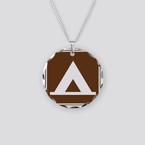 brown_camping_tent_sign_real Necklace Circle Charm