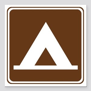 "brown_camping_tent_sign_ Square Car Magnet 3"" x 3"""