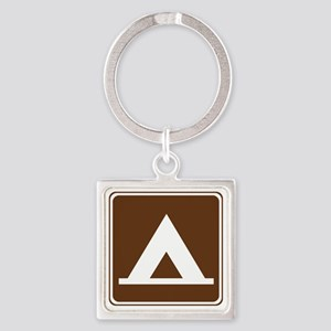 brown_camping_tent_sign_real Square Keychain