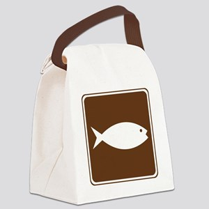 brown_fish_hatchery_sign_real Canvas Lunch Bag
