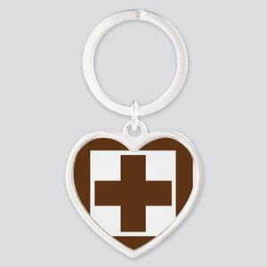 brown_first_aid_sign_real Heart Keychain