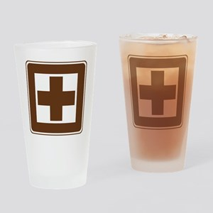 brown_first_aid_sign_real Drinking Glass
