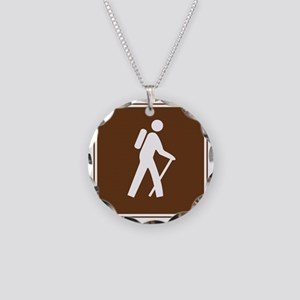 brown_hilking_trail_sign_hik Necklace Circle Charm