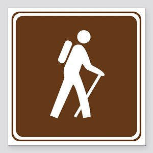 "brown_hilking_trail_sign Square Car Magnet 3"" x 3"""
