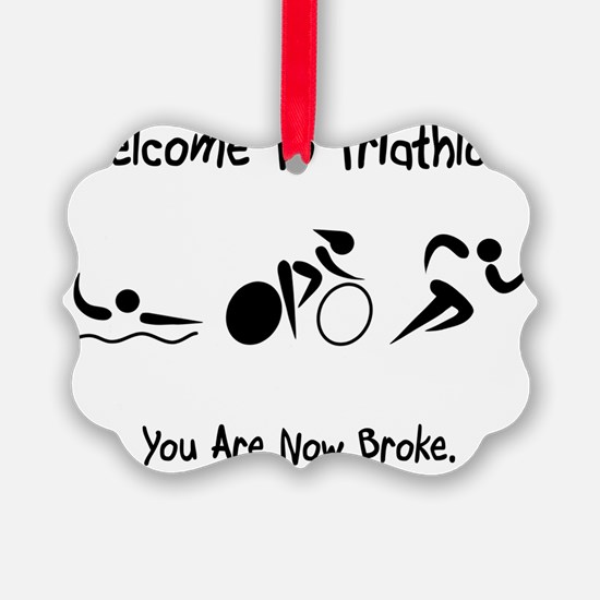 Triathlon Broke Black Ornament