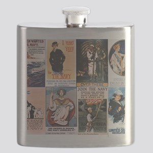 WWI navy posters Flask