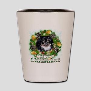 Merry Christmas Pekingese Black Shot Glass