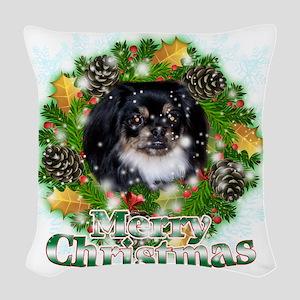 Merry Christmas Pekingese Blac Woven Throw Pillow