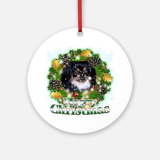 Merry Christmas Pekingese Black Round Ornament