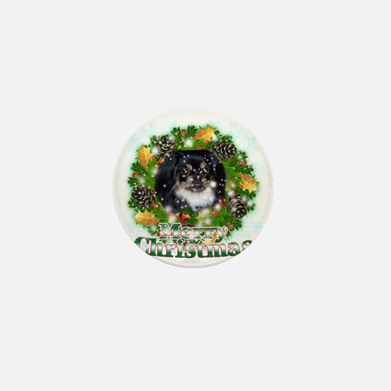 Merry Christmas Pekingese Black Mini Button