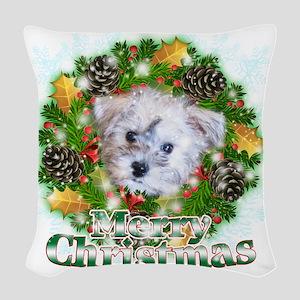 Merry Christmas Schnoodle Woven Throw Pillow