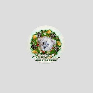 Merry Christmas Schnoodle Mini Button
