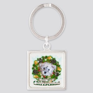 Merry Christmas Schnoodle Square Keychain