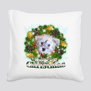 Merry Christmas Schnoodle Square Canvas Pillow