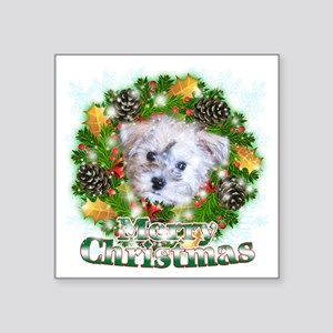 """Merry Christmas Schnoodle Square Sticker 3"""" x 3"""""""