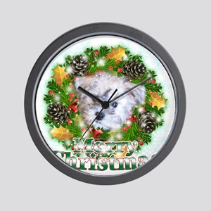 Merry Christmas Schnoodle Wall Clock