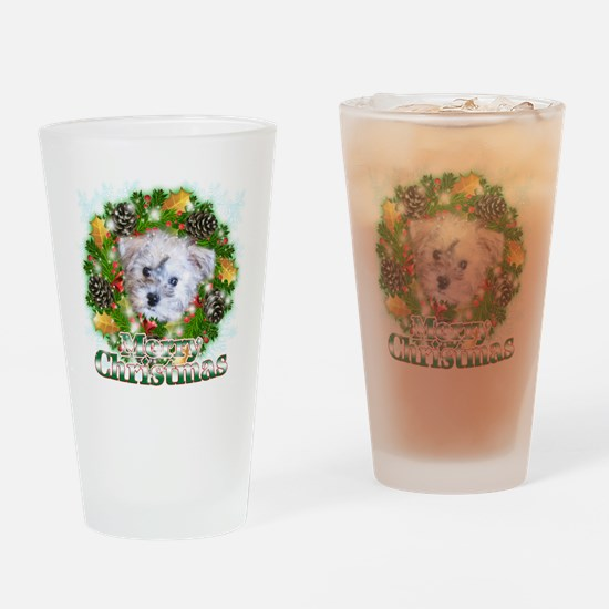 Merry Christmas Schnoodle Drinking Glass