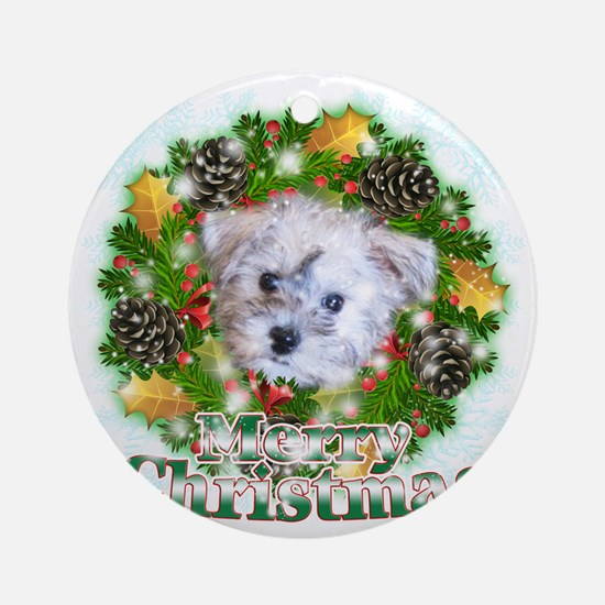 Merry Christmas Schnoodle Round Ornament