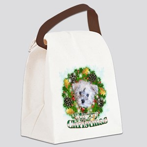 Merry Christmas Schnoodle Canvas Lunch Bag