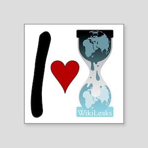 """i heart wikileaks2 Square Sticker 3"""" x 3"""""""