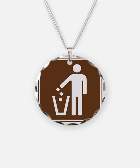 brown_litter_container_sign_ Necklace