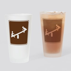 brown_playground_sign_real Drinking Glass